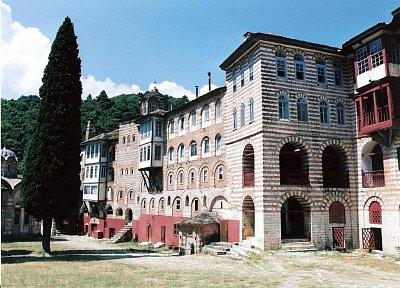 svatá hora Athos - srbský klášter Hilandari (nahrál: z.pejchal)